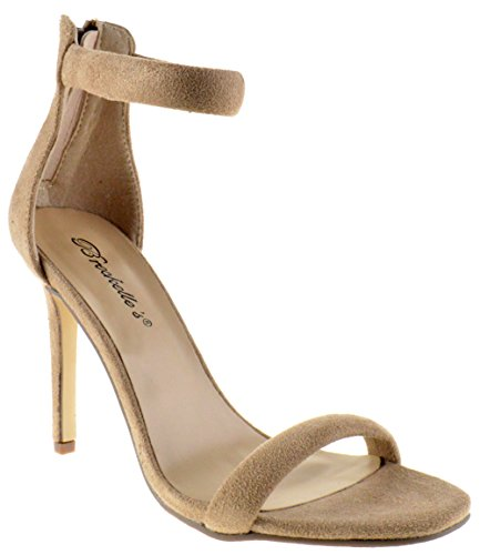 (Breckelle's Swagger 02 Womens Evening High Heel Open Toe Ankle Stiletto Tumps Sandals Beige)