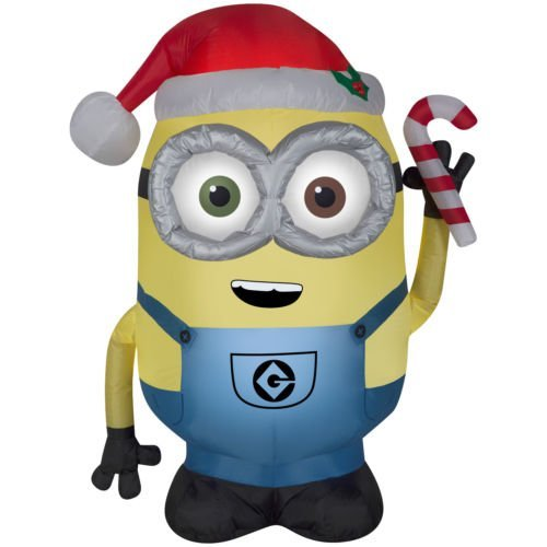 Inflatable Despicable Me Minion Santa w/ Candy Cane Bob LED 4ft (1) by Gemmy (Image #1)