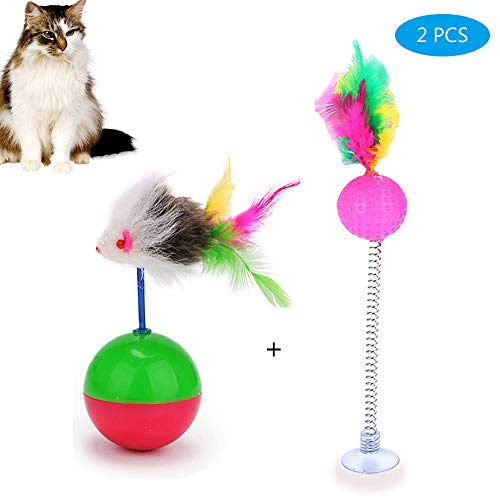 (Worbee Cat Toy, Cat Tumbler Toys with Mouse, Spring Cat Teaser with Feather Cat Intelligence Interactive Toy Perfect Toy for Exercising Kitten or Cat (2 Packs))