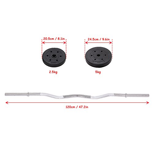 TOMSHOO Barbell Weight Set Adjustable Weight Lifting Curl Bar for Home Gym Full Body Workout Fitness Exercise, 44 lb.