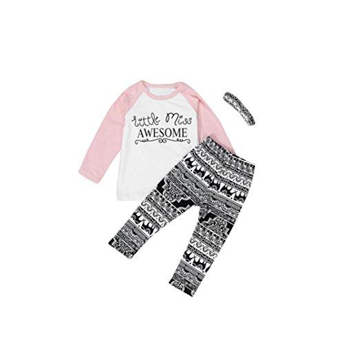 Matoen Toddler Baby Kids Girls Clothes T-Shirt Pants Leggings Headband 3PCS Outfits