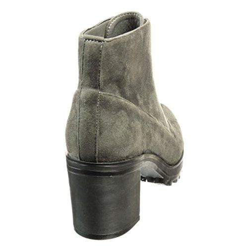 Angkorly Di Donna Blocco 5 Avvio Alto Boots Scarpe Grigio Moda cm 6 Desert Tacco ZnzZH