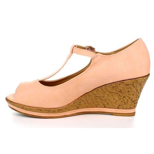 Bellamarie Qq-10 Femmes Maryjane Peep Toe T-strap Sandale Liège Plate-forme Wedge Pompe Blush