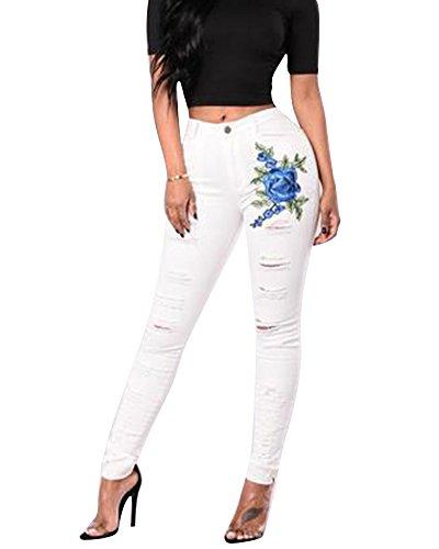 Droit Blanc Haute Femme Denim Fit Dchirs droit Slim Pantalon Pants Collant Broderie Trou Jeggings Taille Pantalons Jeans 4XaAvqvn