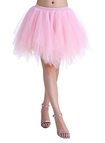 (BIFINI Adult Women 80's Tutu Skirt Layered Tulle Petticoat Halloween Tutu Pink)