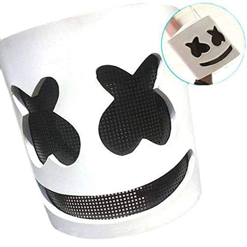 foreverwen DJ Marshmallow Helmet Music Festival Marshmallow Head Mask Novelty Costume Party Bar Mask Rubber Latex Mask Ultra Cool Full Head Mask -