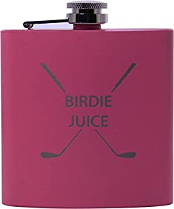 Birdie Juice 6oz Flask - Great Gift for A Golfer, Father's Day, Birthday, or Christmas Gift (Pink)