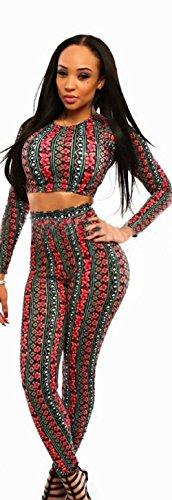 NEW Mesdames Rouge et Noir, fleurs et rayures 2pièces pour femme pour femme de Club Wear Vêtements Casual pour Femme Soirée Taille UK 12EU 40