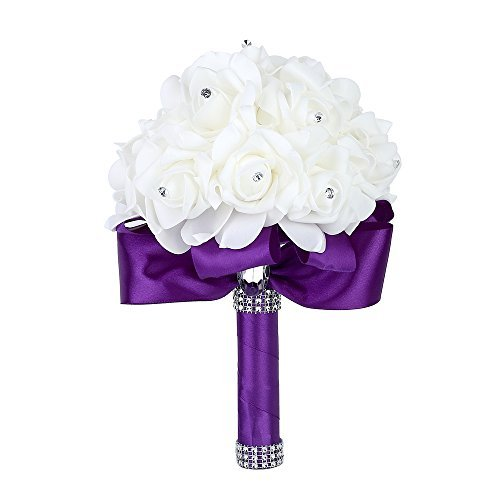 Wedding Bouquet, Febou Big Size Purple Bridesmaid Bouquet Bridal Bouquet with Crystals Soft Ribbons, Artificial Rose Flowers for Wedding, Party and Church (Purple Big Size)