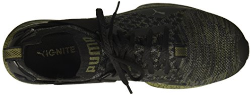 Puma Mens Ignite Evoknit Lo Hypernature Sneaker Puma Nero-silenzioso Ombra-oliva Notte