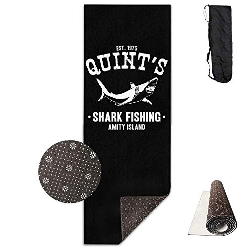 (Yoga Mat Non Slip Quint's Shark Fishing Printed 24 X 71 Inches Premium for Fitness Exercise Pilates with Carrying Strap)