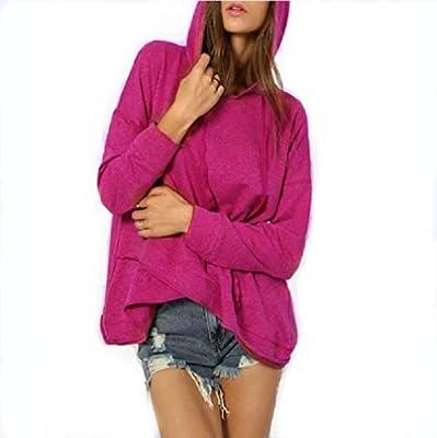 Comfy Women Fall Hoode Pure Colour Irregular Hem Pullover Sweatshirt