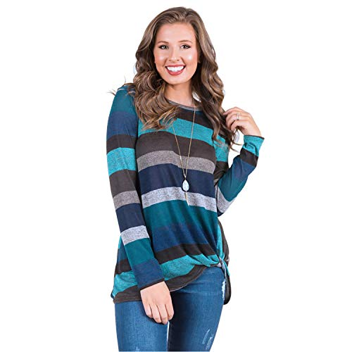 Lxmsja T Shirts for Women Casual Long Sleeve Striped Top Tunic Round Neck Knot Blouse