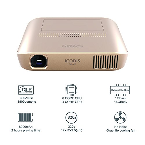 Icodis cb 300 pico projector 3d hd video with dlp 1800 for Best mini projector review