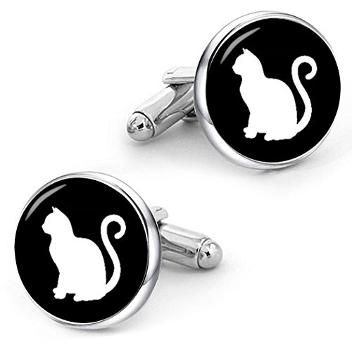 Silver Cat Plated Cufflinks - Kooer Vintage Cat Cufflinks Custom Personalized Cuff Links Egyptian Mau Cufflinks Wedding Jewelrys