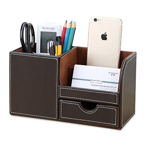 KINGFOM Wooden Struction Leather Multi-Function Desk Stationery Organizer Storage Box Pen/Pencil,Cell Phone, Business Name Cards Remote Control Holder with Small Drawer - Leather Organizer Desk