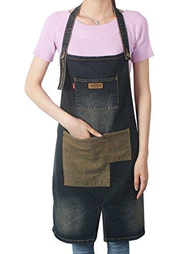 [Vantoo Unisex Distressed Adjustable Kitchen Denim Apron with Pockets for Men and Women,Navy Blue] (Pirate Makeup Female)