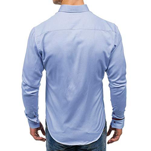 Taille Tops Slim 3xl Automne Revers M À Hommes Casual Chic Blouse Bleu Adeshop Chemise Top Mode Grande Couleur Haut Lâche Pure Vêtements Longues Manches Gentilhomme qaH70nwg