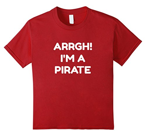 Kids Arrgh! I'm A Pirate Halloween Costume tshirt 6 Cranberry