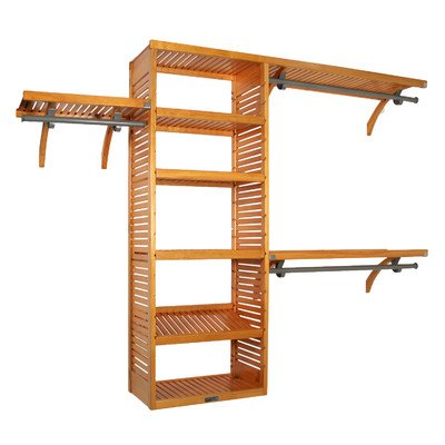 John Louis Home JLH-525 Deluxe 16-Inch Deep Closet Shelving System, Honey Maple