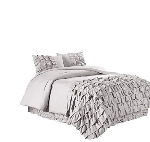 Chezmoi Collection Ella 2-Piece Ruffle Waterfall Comforter Set (Twin, - Grey Waterfall
