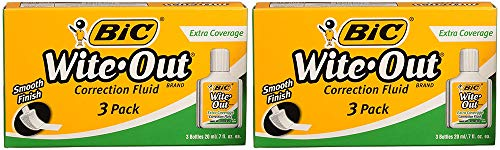 BIC Wite- Out Brand Extra Coverage Correction Fluid.7 Fl Oz, 3 Bottles (2 Boxes) by BIC Wite (Image #1)
