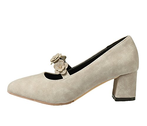 Solid Heels Toe On Pull Closed Kitten Women's Shoes Pumps AmoonyFashion Pu Gray Pointed qS0pFF