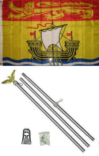 ALBATROS 3 ft x 5 ft Canada Canadian Province New Brunswick Flag Aluminum with Pole Kit Set for Home and Parades, Official Party, All Weather Indoors Outdoors