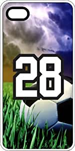 Soccer Sports Fan Player Number 28 Clear Rubber Decorative iphone 4s Case