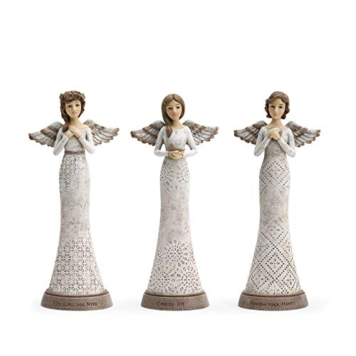(DEMDACO Joy Heart Love Winged Angels 5 x 11.5 Resin Stone Figurine Set of 3)