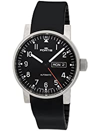 Fortis Spacematic Pilot Professional Steel Mens Silicon Strap Watch Day Date 623.10.71.SI.01
