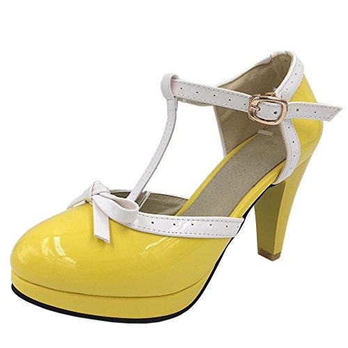 COOLCEPT Damen D Orsay Sandalen Klassische T-Spange Hohe Extra Sizes 11 Colors Gelb