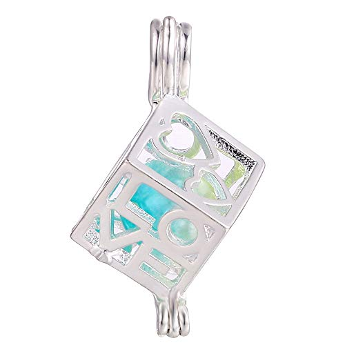 10pcs Love Heart Cube Pearl Cage Bright Silver Beads Cage Locket Pendant Jewelry Making-for Oyster Pearls, Essential Oil Diffuser, Fun Gifts (Love Cube)