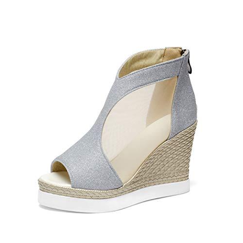 Mesh Sandals Women Peep Toe Wedges Shoes Woman High Heels Back Zipper Footwear in Black Gold Silver