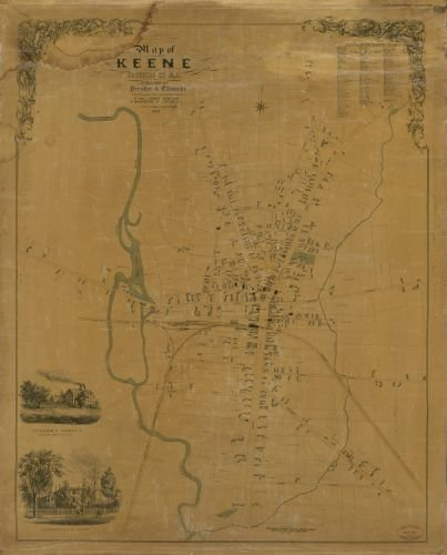 1853 Map of Keene, Cheshire Co., N.H. - Size: 20x24 - Ready to Frame - Keene | New Hampshire | Keene (Best Income Property Locations)