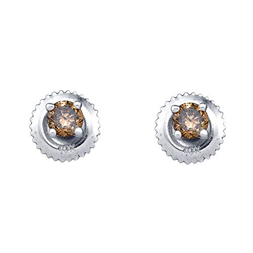Mia Diamonds 10kt White Gold Womens Round Brown Color Enhanced Diamond Solitaire Stud Earrings (.25cttw) (I2-I3)