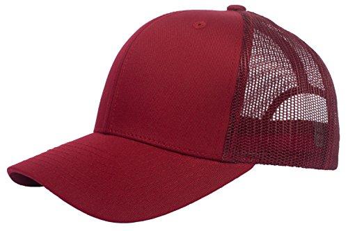 DRY77 Trucker Mesh Baseball Cap Mens Womens Original 6 Panels Twill Hat Summer, Burgundy/Red ()