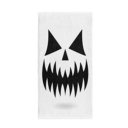 Semtomn 30 x 60 Inches Bath Towel Scary Halloween Pumpkin Face Ghost Monster Mouth Spooky Eyes Soft Absorbent Travel Guest Decor Hand Towels Washcloth for Bathroom(One Side -