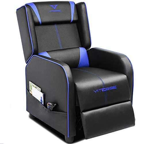 Vitesse Gaming Recliner Chair Racing Style Single Ergonomic Lounge Sofa Modern PU Leather Reclining Home Theater Seat for Living & Gaming Room (Blue) (Woman Home Within Furnishings)