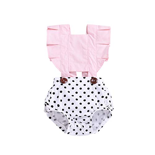 Sinhoon Newborn Baby Girl Polka Dot Floral Lace Ruffle Print Backless Buttons Romper Sunsuit Bodysuit Jumpsuit Outfit (Polka dot, 18-24 Months)