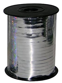 Amscan - Cinta para Globos, Metallic Silver, 5mm x 225m