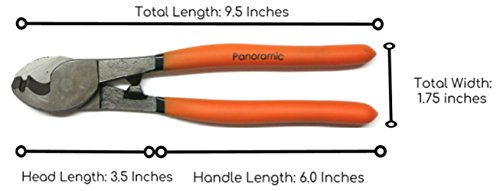 Cable Cutter: 9.5 inch, High Leverage, Ergonomic, Electrical Use by Panoramic Products (Image #1)