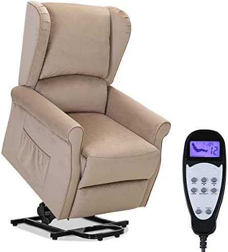 TANGKULA Electric Lift Massage Recliner Chair, Home Theater Seating, Leisure Lounge, Padded Seat, Living Room Office Furniture, Massage Sofa with Side Pocket and Remote Control, Recliner Beige