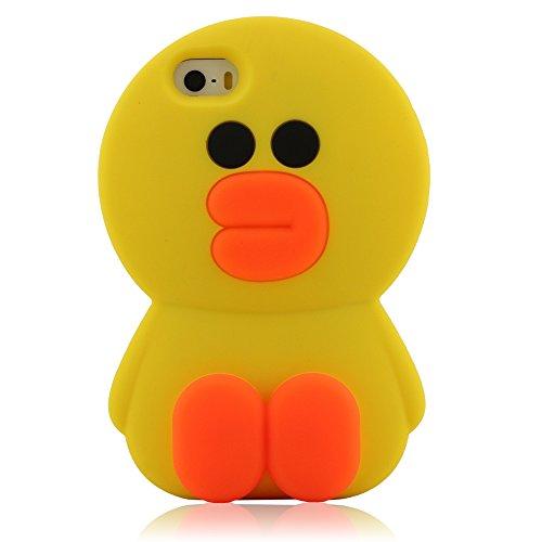 3D Charmant Pur Jaune Canard Coque Case Cover pour Apple iPhone 5 5S 5C 5G Animal Apparence Conception, iPhone 5 5S Housse étui De Protection Absorption des Chocs Antifraying, Doux Silicone Gel Matéri