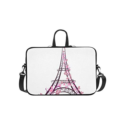 One of The Most Famous Monuments in Paris Pattern Briefcase Laptop Bag Messenger Shoulder Work Bag Crossbody Handbag for Business Travelling