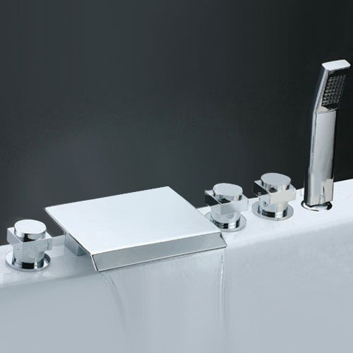 Lightinthebox Deck Mount Solid Brass Widespread Waterfall Bathroom Sink Faucet Pull Out Arm Three Handles Bath Shower System Lavatory Vessel Sink Faucets Ceramic Valve by LightInTheBox