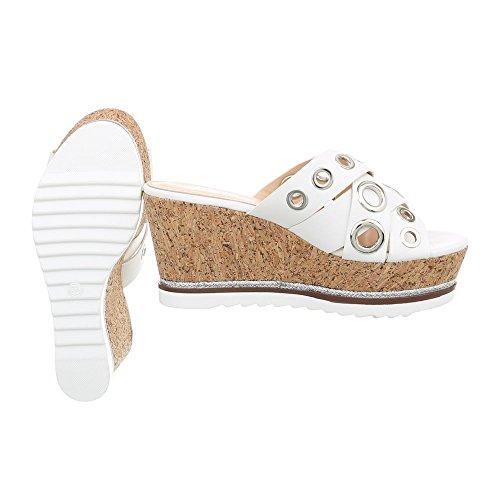Ital-Design Pantoletten Damenschuhe Keilabsatz/Wedge Keilabsatz Sandalen & Sandaletten Weiß 77-25