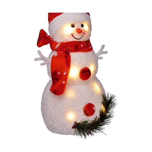 Bambelaa! Pupazzo di neve con luce LED, rosso, decorazione natalizia illuminato, 42 cm, funzionamento a batteria 6 spesavip