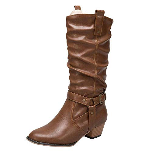 - vermers Women Mid Heel Shoes Solid Color Knee High Boots Non-Slip Artificial Leather Booties(US:9.5, Brown)