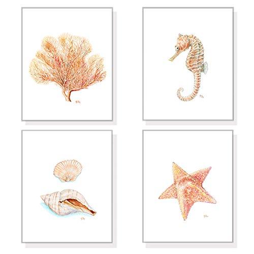 (Sandy Beach Wall Art and Coastal Decor Prints Set of 4, Ocean Art Sea Prints, Sea Life Watercolor Painting Prints, Shells Seashells Coral Seahorse Starfish)